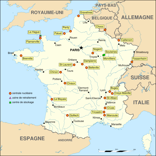 carte de disposition des central nucleaires