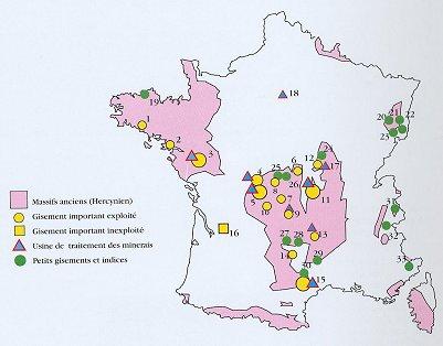 carte des sîtes d'uranium
